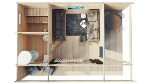 Bastuhus Hansa Lounge XXL 22m² / 70mm / 8 x 5 m