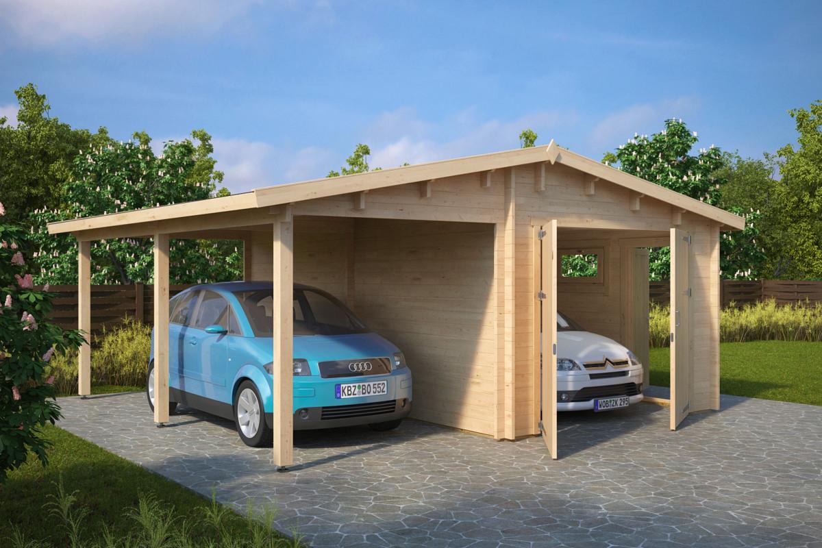 garage med carport g 31m 5 7 x 5 5 m 44mm attefallshus timmerstugor bastuhus grillhus m m. Black Bedroom Furniture Sets. Home Design Ideas