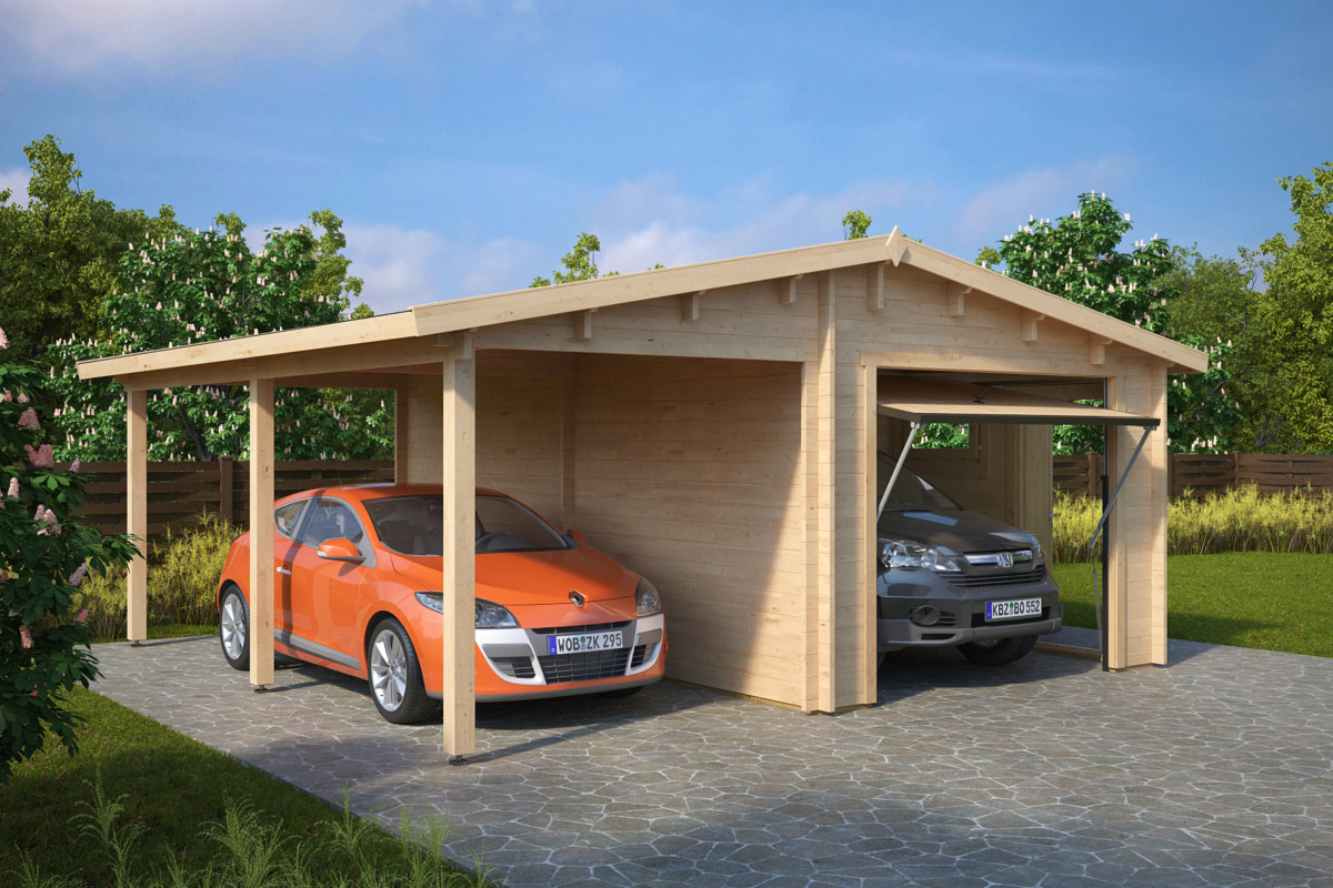 garage med carport vipport g 31m 5 7 x 5 5 m 44mm attefallshuset 24. Black Bedroom Furniture Sets. Home Design Ideas