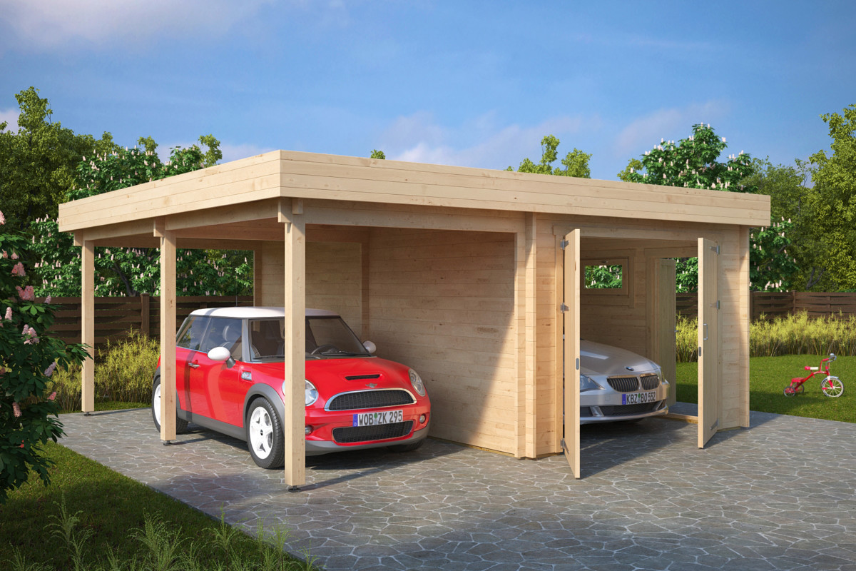 garage med carport med tr d rrar h 31m 5 7 x 5 5 m 44mm attefallshuset 24. Black Bedroom Furniture Sets. Home Design Ideas
