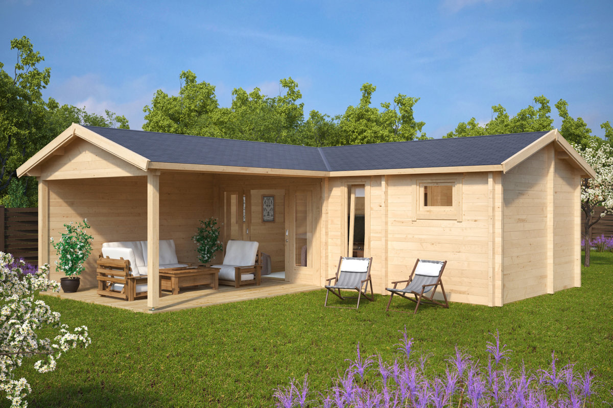 bastuhus hansa deluxe b med veranda 22m2 70mm 7 x 3 m. Black Bedroom Furniture Sets. Home Design Ideas