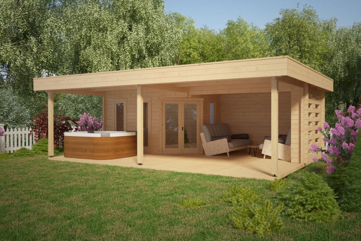 sommarhus garden paradise a med veranda 10m2 58mm 8 x 6 m attefallshuset 24. Black Bedroom Furniture Sets. Home Design Ideas