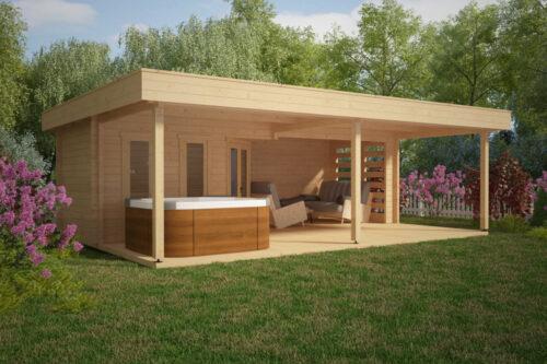 Sommarhus Garden Paradise A med Veranda 10m2 / 58mm / 8 x 6 m - Attefallshus, Timmerstugor ...