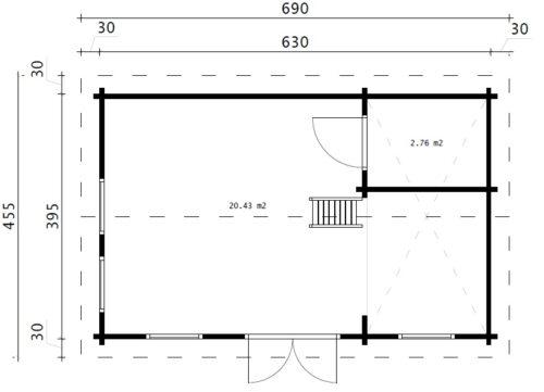Attefallshus med sovloft – Sverige B