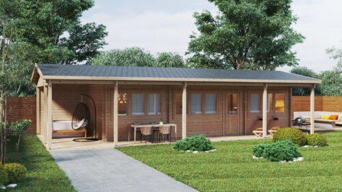 Två sovrums timmerstuga med stor veranda Edward 37m2 / 6 x 13m / 70mm