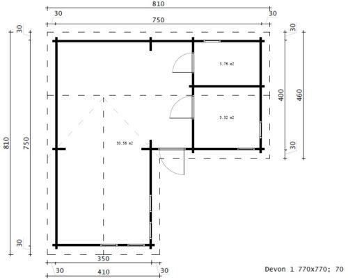 Hörnstuga med Devon-1 / 40m2 / 70mm med ett sovrum
