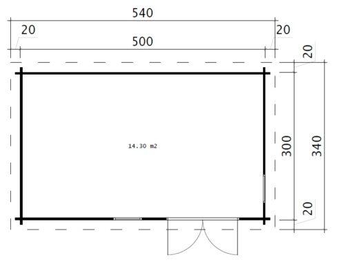 Trådgårdshuset Ryan 14 m² / 5 x 3 m / 44 mm