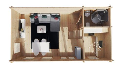 Timmerstuga med sovloft Sverige B XL 35m2 / 7 x 4 m / 70mm