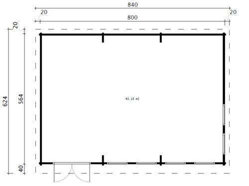 Trädgårdshus Snooker Rum XL I / 8 x 5,5 m / 43 m2 / 70 mm