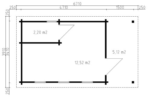 Timmerstuga med badrum Martin I / 6 x 3,3 m / 15 m2 / 70mm