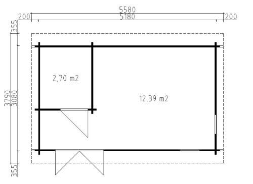 Timmerstugan Mia 1 med badrum / 5 x 3 m / 15m2 / 44mm