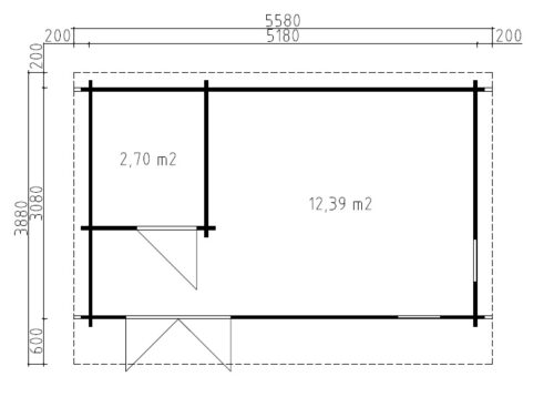 Timmerstuga Mia 2 med badrum / 5 x 3 m / 15m2 / 44mm