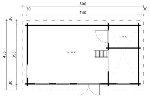 """Attefallshus med sovloft """"Sverige F"""" 35m2 / 7 × 4 m / 70 mm"""