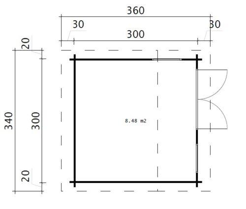Timmerstuga Minikontor-1 / 3 x 3 m / 9m2 / 44mm