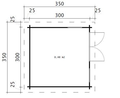 Timmerstuga Minikontor-2 / 3 x 3 m / 9m2 / 44mm