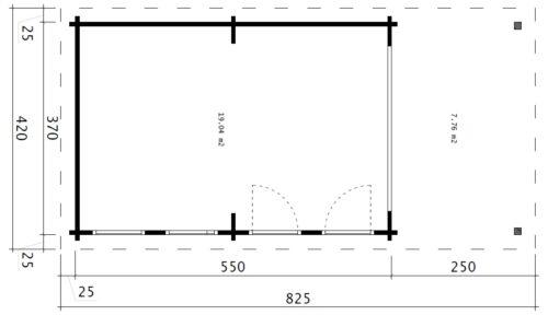 Stort trädgårdsrum David-1 med premium vikdörrar / 4 x 8 m / 19m2 / 70mm