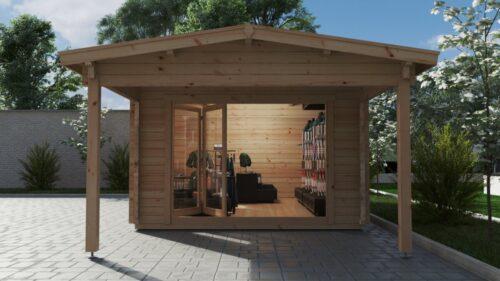 Stort trädgårdsrum David-2 med premium vikdörrar / 4 x 8 m / 19m2 / 70mm