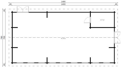 Timmerstuga, klassrum-konferensrum / 14 x 7 m / 88 mm / 93 kvm