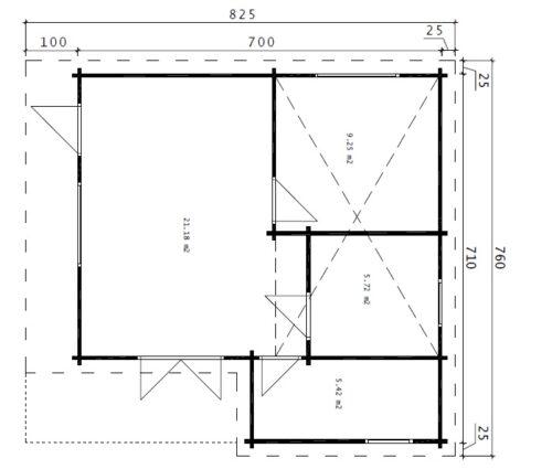 Timmerstuga med två sovrum och sovloft Dallas / 42 kvm / 7x7m / 70mm