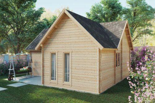 Timmerstuga-fritidshus med ett sovrum och sovloft Hansa Holiday Q 55 m2 / 70mm