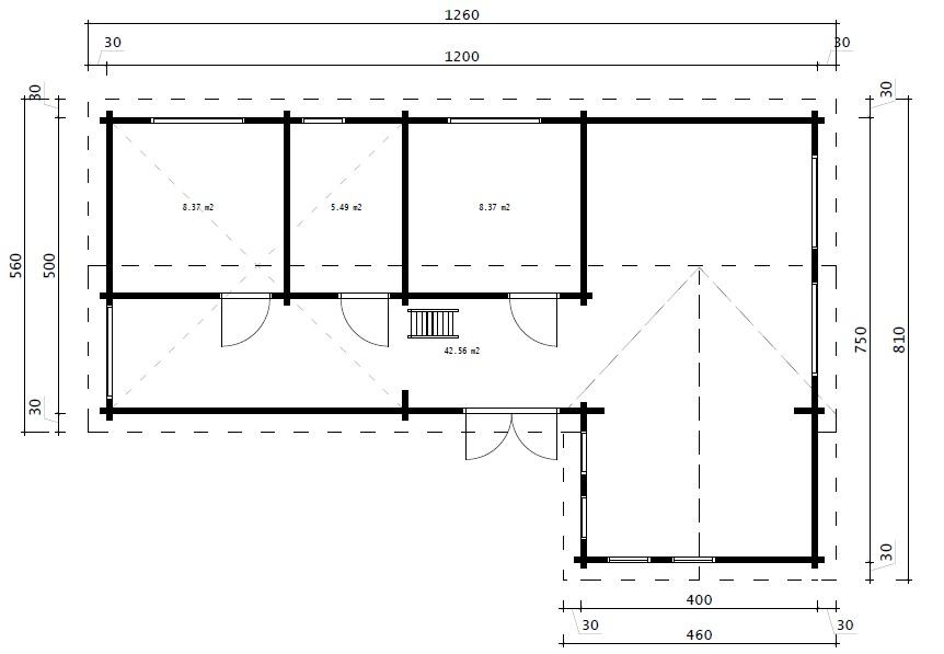 Timmerstuga med två sovrum och sovloft Holiday Max 2/65 kvm/12 x 7,5 m/92 mm