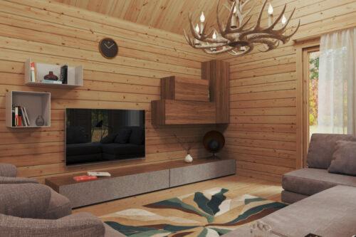 Timmerstuga med två sovrum och sovloft Holiday Max 1 85 kvm / 9 x 12 m / 92 mm