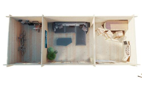 Timmerstuga med förvaring Liam Plus (3 x 8 m / 44 mm / 22 m2)