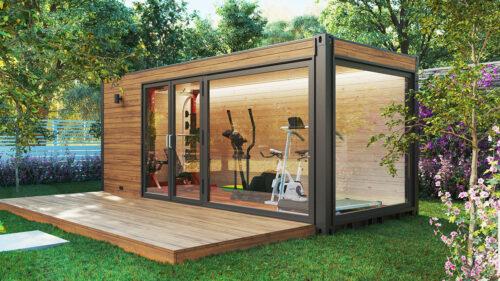 Trädgård gym container hus