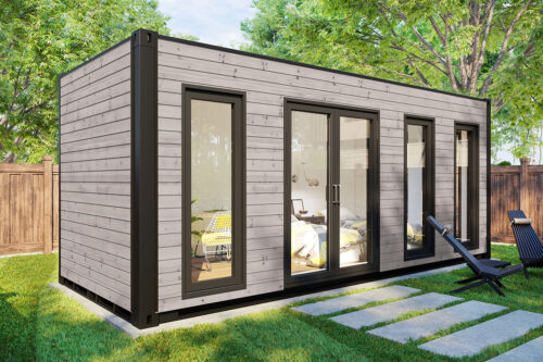 Ombyggd havscontainer trädgårdrum V-4 grå