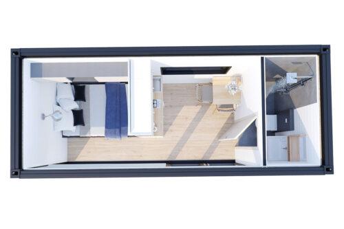 Ombyggd havscontainerboende med duschrum V-2 bottenvåning