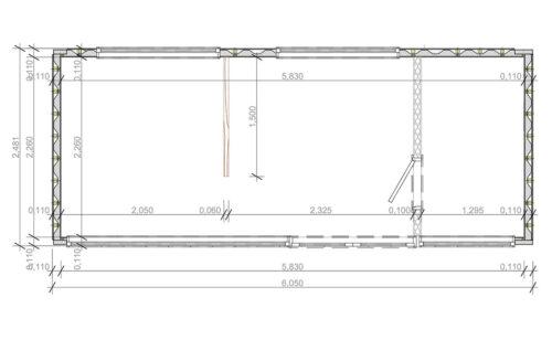 Ombyggd havscontainerboende med duschrum V-3 bottenvåning