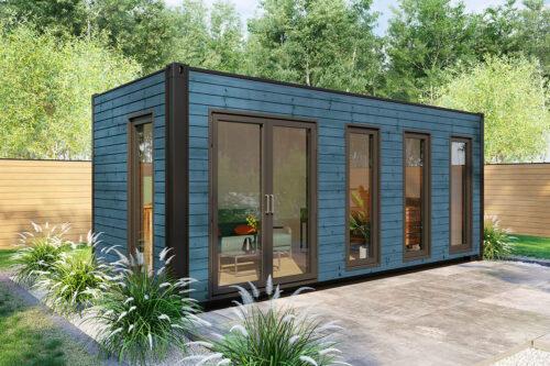 Omgjord havscontainer trädgårdskontor V-1 blå
