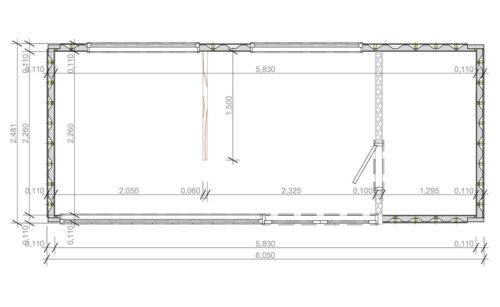bottenvåning ombyggd havscontainerboende med duschrum V-2