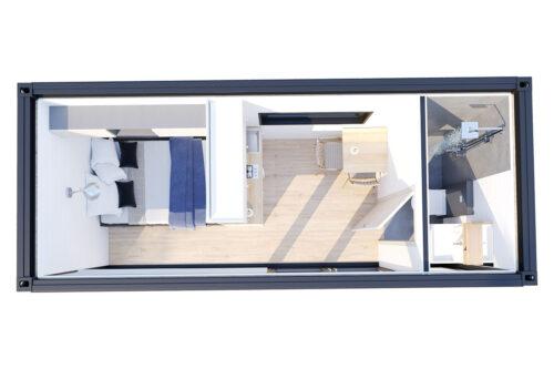 bottenvåning ombyggd havscontainerboende med duschrum V-3