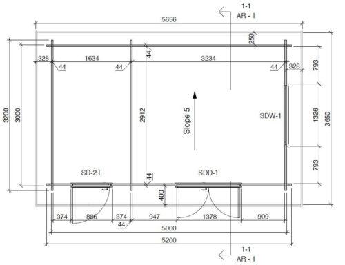 Attefallshus med förråd bottenvåning Super Tom DS